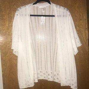 CJ Banks White crochet 3/4 length sleeve sweater
